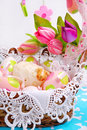 Easter basket with eggs and sheep figurine Stock Image