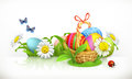 Easter, basket and eggs. Spring flowers vector banner Royalty Free Stock Photo
