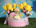 Easter basket on the grass Stock Photo