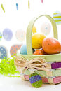 Easter basket hand painted eggs Stock Photo