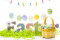 Easter basket hand painted eggs Stock Photos