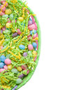 Easter basket with jelly beans top view of an pastel colored isolated on a white background Stock Photography