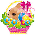 Easter basket with pink bow and a cute bunny  Royalty Free Stock Photo