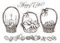 Easter basket set. Hand drawn vector illustration.