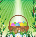 Easter basket and Sunlight Royalty Free Stock Photography