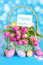 Easter basket with tulips and eggs wicker fresh pink on blue background Stock Photography