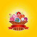 Easter basket, vector Royalty Free Stock Photos