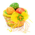 Easter basket  on white Stock Photo