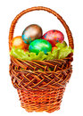 Easter basket on white background Royalty Free Stock Photos