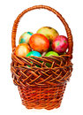 Easter basket on white background Royalty Free Stock Images