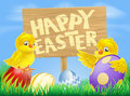 Easter birds and eggs with sign Stock Images