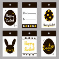 Easter black and gold trendy tags set, collection. Vector easter gift card design for print Royalty Free Stock Photo