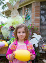 Easter blond girl holding big egg and bunny Royalty Free Stock Photo