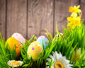 Easter border design. Colorful eggs in spring grass