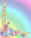 Easter Border ribbons bunnies Stock Photos