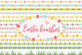 Easter borders, ornament, garland set. Banner with grass, eggs, flowers and other elements. Vector illustration, clip