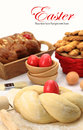 Easter bread dough sweet with red eggs Stock Images