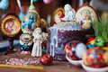 Easter bread and eggs celebratory on table Royalty Free Stock Image