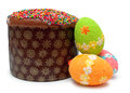 Easter bread (kulich) with three eggs Royalty Free Stock Photo