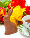 Easter breakfast with chocolate bunny Royalty Free Stock Images