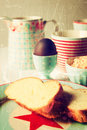Easter breakfast an morning set table detail vintage Stock Photography
