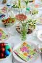 Easter brunch table set for Royalty Free Stock Image