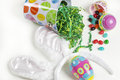 Easter bucket with candy Royalty Free Stock Photo