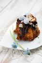 Easter bundt cake with chocolate and decorations Stock Photography