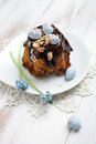 Easter bundt cake with chocolate and decorations Stock Photo