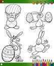 Easter bunnies cartoons for coloring book themes collection set of black and white cartoon illustrations Stock Image