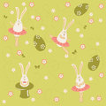 Easter bunnies dancing and singing seamless background Royalty Free Stock Photo