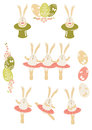 Easter bunnies dancing and singing set Royalty Free Stock Photography