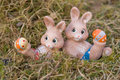 Easter bunnies doing gymnastics some Stock Photography