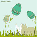 Easter bunnies and eggs Stock Images