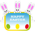 Easter bunnies with eggs on white background