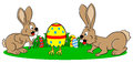 Easter bunnies finding a running egg vector illustration of Royalty Free Stock Photography