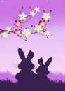Easter bunnies illustration of silhouette Stock Photography