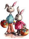 Easter bunnies illustration watercolour of a couple of bunny characters holding baskets of eggs Stock Images