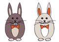 Easter bunnies two vector illustration Royalty Free Stock Photo