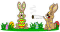 Easter bunnies who smoke too much vector illustration of Stock Images