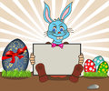 Easter bunny with banner is holding blank funny vector illustration Stock Images