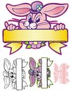 Easter bunny banner holding up a for springtime Royalty Free Stock Photo
