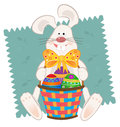Easter bunny with basket cute baskets and colorful eggs eps Stock Photography