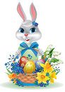 Easter bunny with basket of eggs. Royalty Free Stock Images