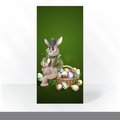 The easter bunny with a basket party invitation card design template full of painted eggs vector illustration eps Stock Image