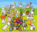 Easter bunny big group cartoon Royalty Free Stock Photo