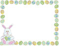 Easter bunny border holiday with and eggs Royalty Free Stock Image