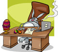 Easter bunny businessman cartoon concept humor illustration of funny in his office Stock Image