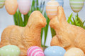 Easter bunny cake with eggs Stock Images
