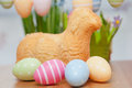 Easter bunny cake with eggs Royalty Free Stock Photography